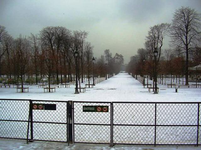 Jardins des tuileries sous la neige