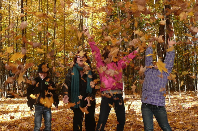 Jouons dans les feuilles