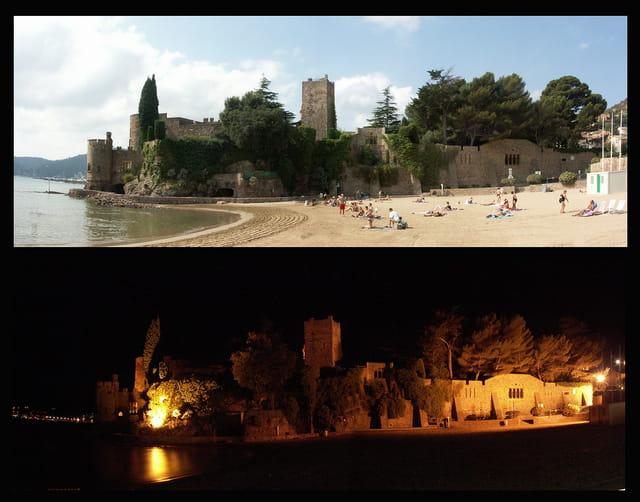 Jour et nuit sur le château de la Napoule
