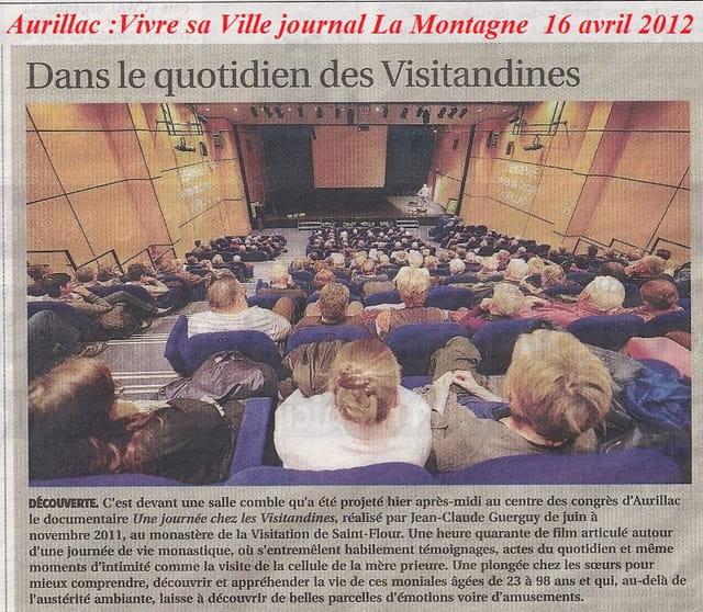 Journal la Montagne le quotidien des Visitandines de St Flour