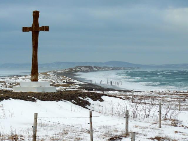 L'isthme de Miquelon-Langlade en hiver