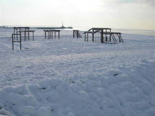 La plage du havre sous la neige !!