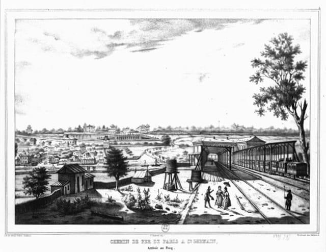 La première gare du Pecq (Lithographie 1837)