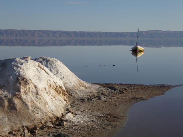Lac de sel après la pluie