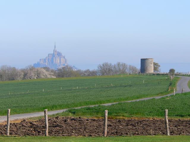 Le Mont Saint Michel se dessine dans la campagne.