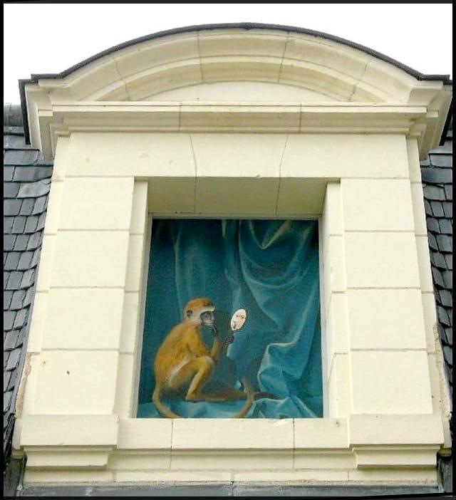 Le singe au miroir trompe l 39 oeil par yvette gogue sur l for Miroir fenetre trompe l oeil