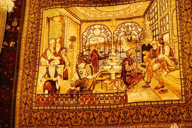 Le tapis tableau en soie