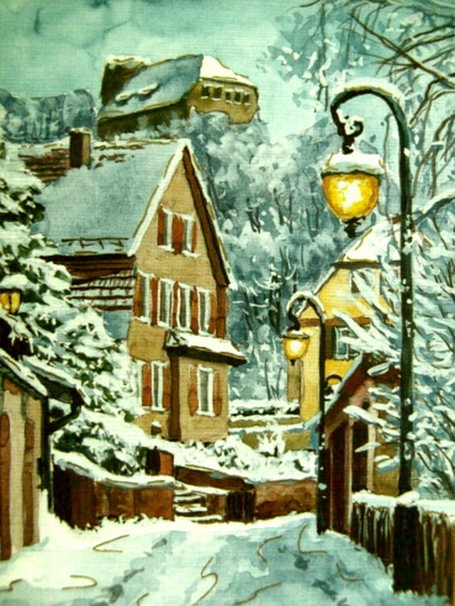 Le village en parure d'hiver