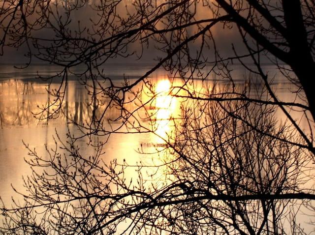 Lever de soleil dans l'eau