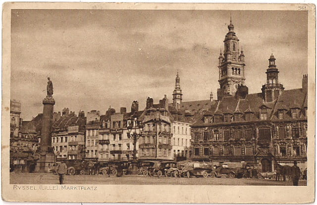 Lille - Grand'Place pendant l'occupation  - Ruines 1914
