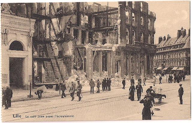 Lille - Le Café Jean avant l'écroulement - Ruines 1914
