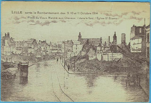 Lille - Place du vieux marché-aux-chevaux - Ruines 1914