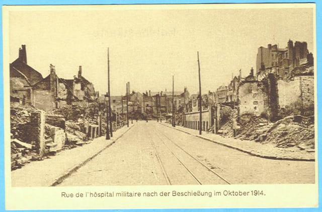 Lille - rue de l'Hôpital militaire - Ruines 1914