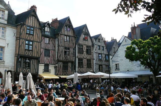 Maisons à pans de bois de la place Plumereau à Tours