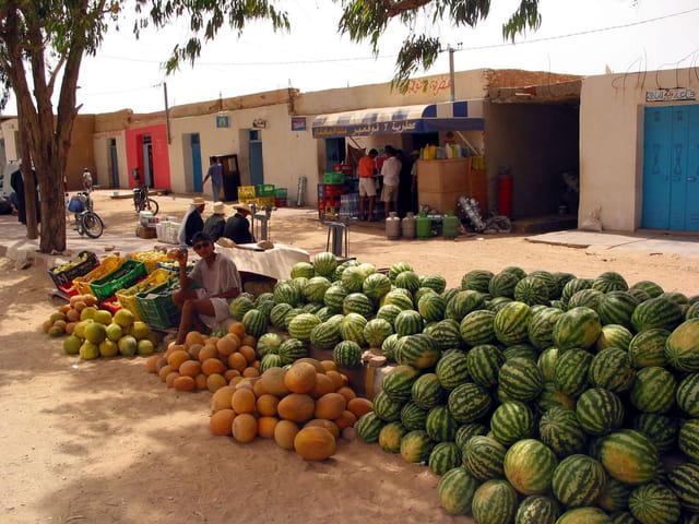 Marché de pastèques et melons