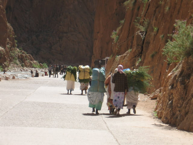 Marocaines traversant les gorges du todra