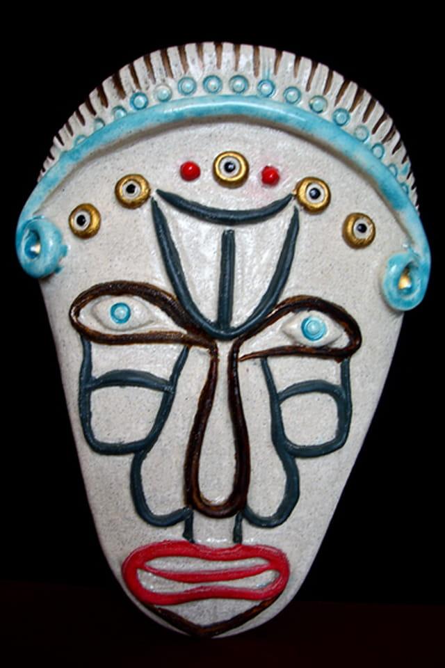 Masque cloisonné en céramique