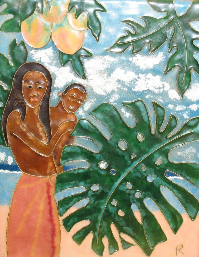 Mere et son enfant (emaux)