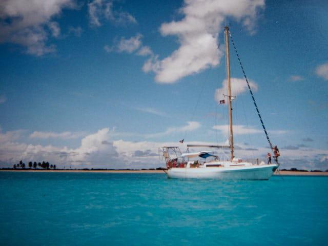 Nausicaa au mouillage à l'ile de Barbuda