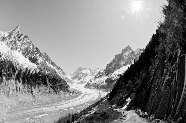 Panorama Mer de glace B&W 02