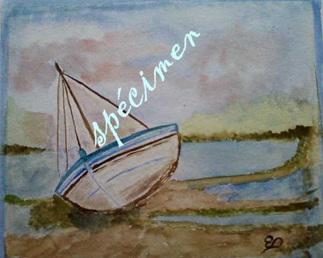 petite barque échouée sur une plage Bretonne, peinture unique aquarelle