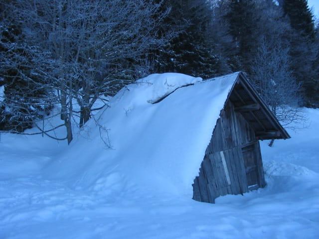 Petite cabane enneigée