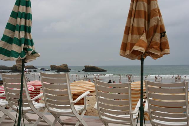 Plage de biarritz par temps couvert