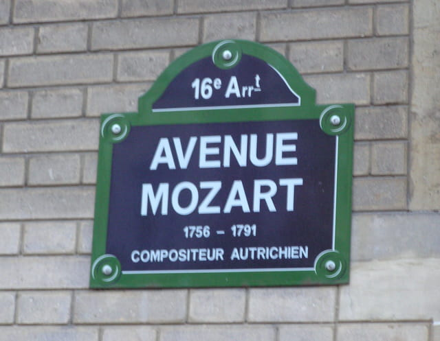 Plaque de rue Mozart