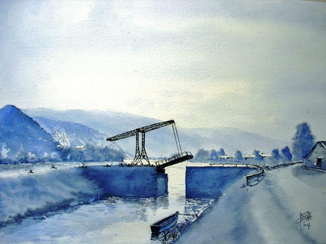 Pont à Bascule d'Aubrives (Aquarelle)