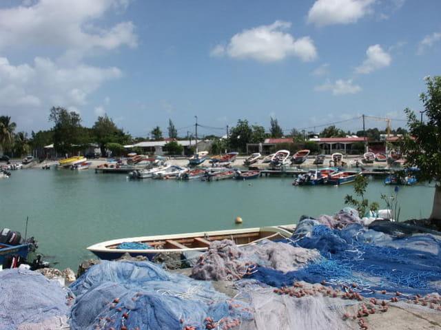 Port de pêche bleu
