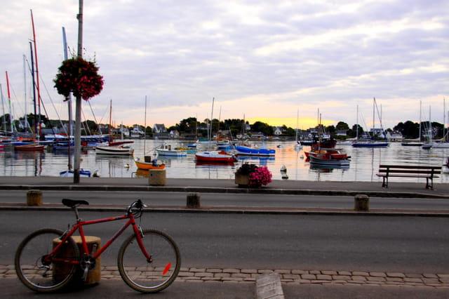 Port de plaisance et vélo au premier plan