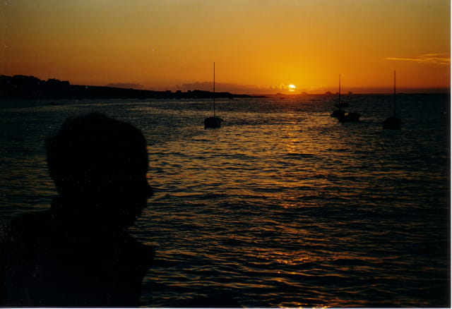 Profil et coucher de soleil