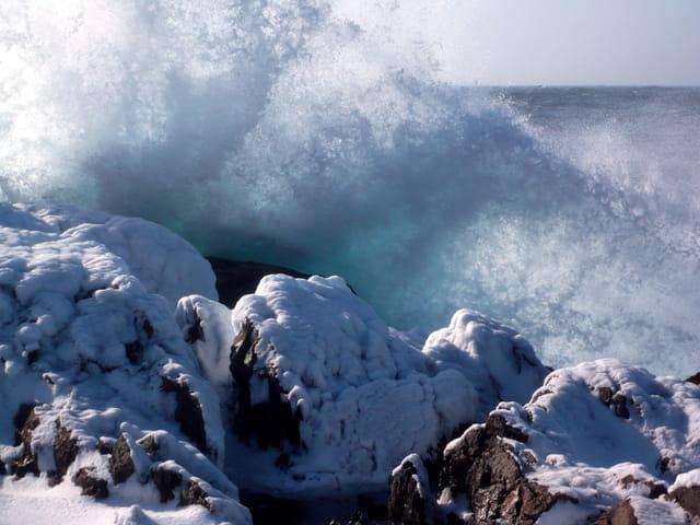 Quand la vague côtoie la neige !