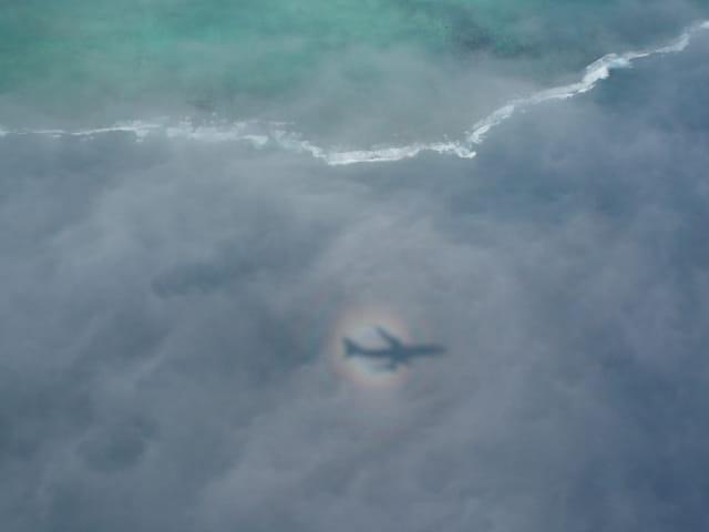 Reflet de l'ombre de l'avion entre