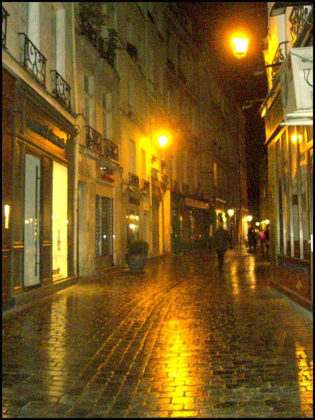 Rue des rosiers, à la nuit tombée