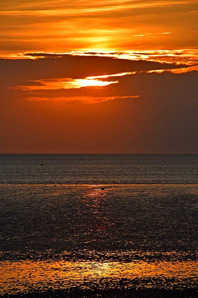 Soleil couchant sur la plage d'Aytré