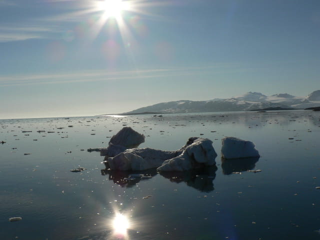 Soleil de minuit sur Iceberg