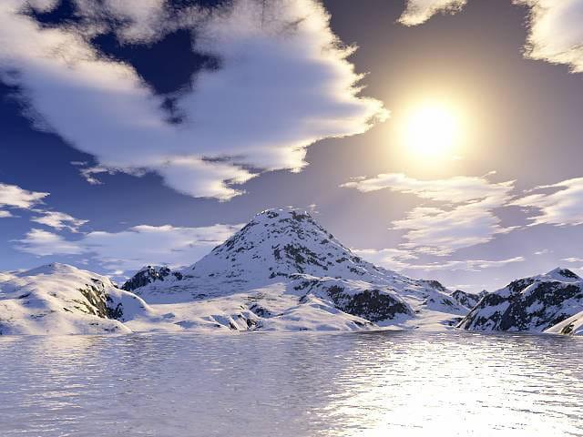 Soleil et montagne