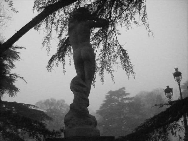 Statue dans la brume