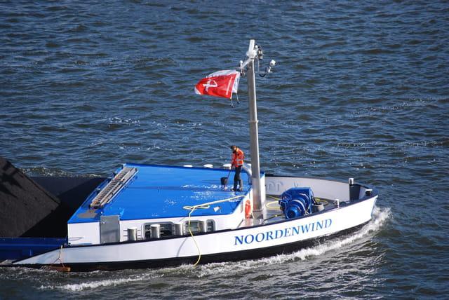 sur un bateau dans le port d'Amsterdam