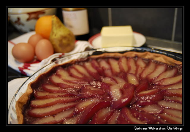 Tarte aux poires et vin rouge