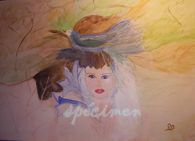 une version de la femme et l'oiseau bleu en peinture acrylique 70x50 sur toile