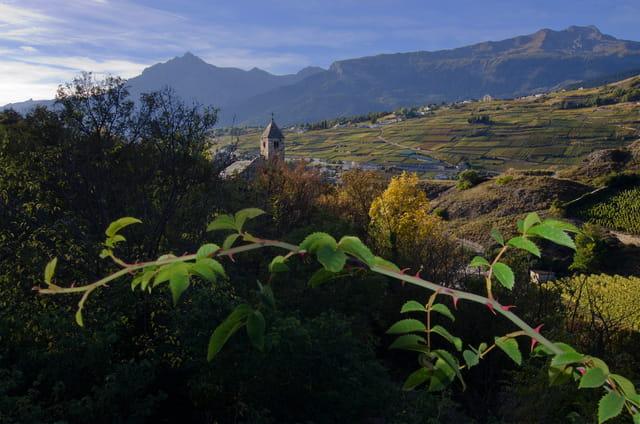 Vue de Sion en Valais, Suisse.