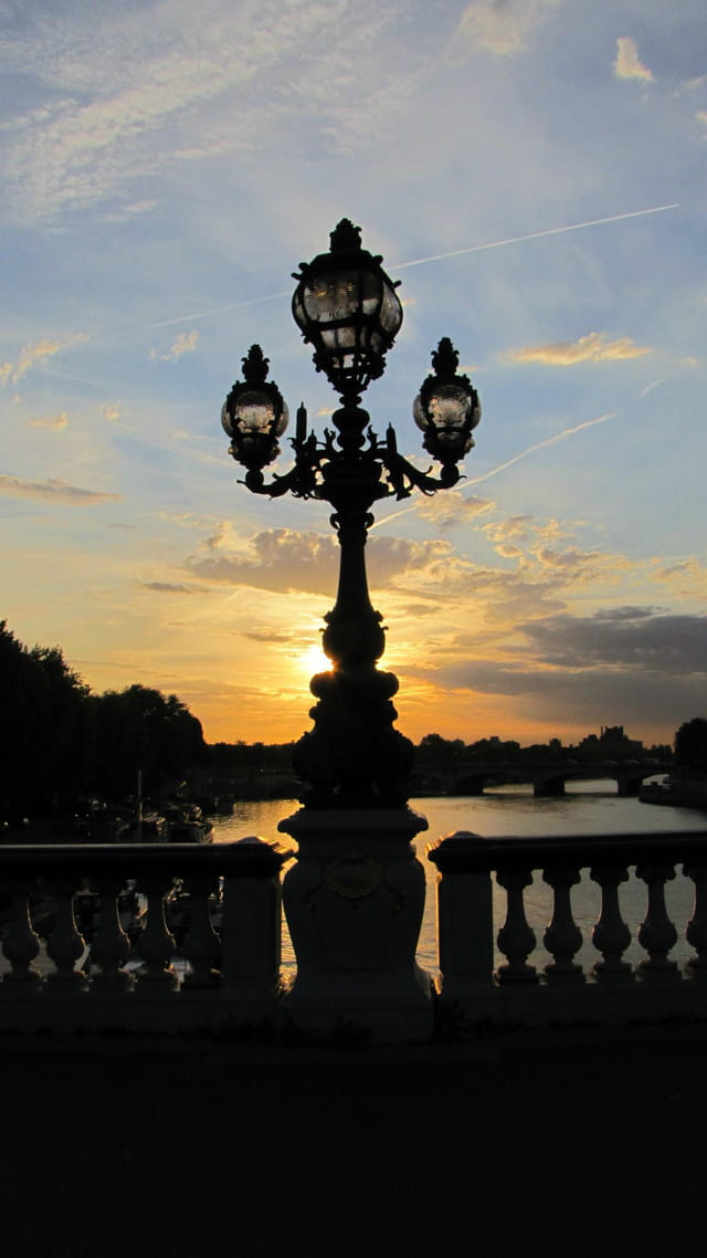 Vue depuis le pont Alexandre III à l'aube