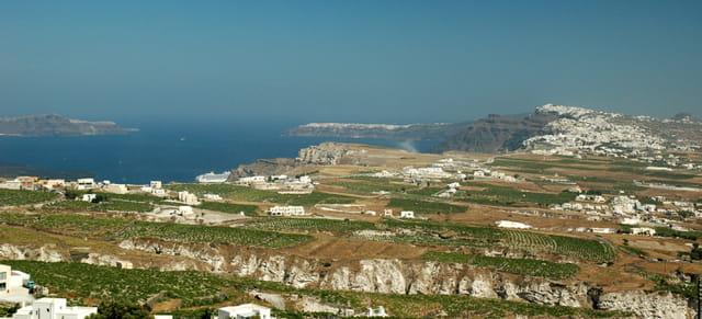 Vue panoramique de Santorin