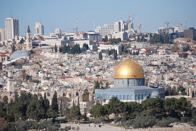 vue sur la vieille ville de Jérusalem et la mosquée d'Omar