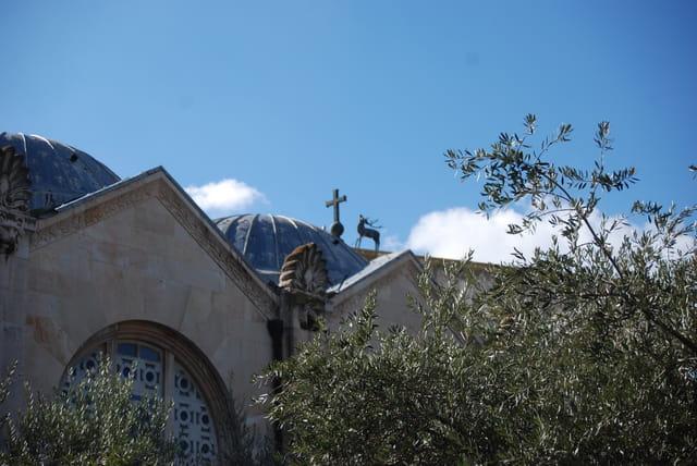 vue sur les toits de la Basilique de l'Agonie ou église de Toutes les Nations
