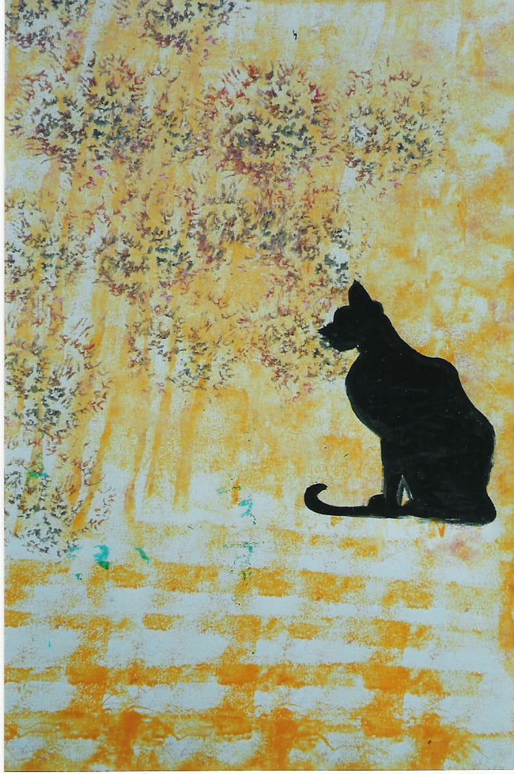 chat noir sur fond jaune par annette bloch jambet sur l 39 internaute. Black Bedroom Furniture Sets. Home Design Ideas