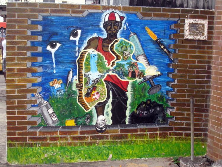 Peinture sur mur guadeloup en loquent par franck baxter sur l 39 intern - Retouche peinture mur ...